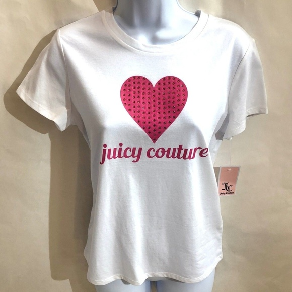 337a0f4c8e5f Juicy Couture White Pink Rhinestone Heart T-Shirt